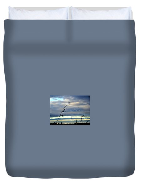 Grass Against Abstract Sky Duvet Cover