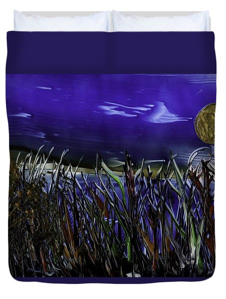 Grass By Water Duvet Cover