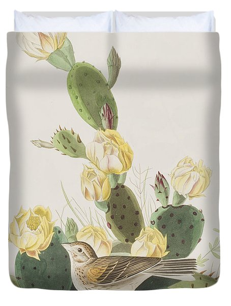 Grass Finch Or Bay Winged Bunting Duvet Cover