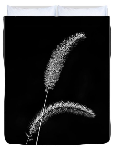 Grass In Black And White Duvet Cover