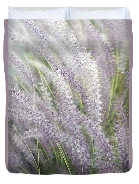Duvet Cover featuring the photograph Grass Is More - Nature In Purple And Green by Ben and Raisa Gertsberg