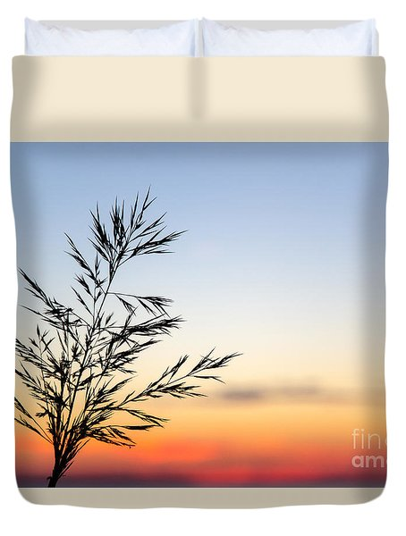 Grass Straw At Sunset Duvet Cover