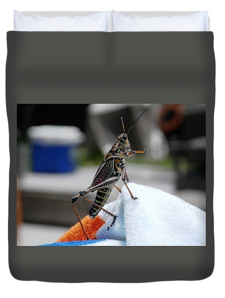 Dancing Grasshopper At The Pool Duvet Cover