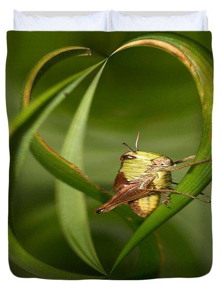 Duvet Cover featuring the photograph Grasshopper by Jouko Lehto