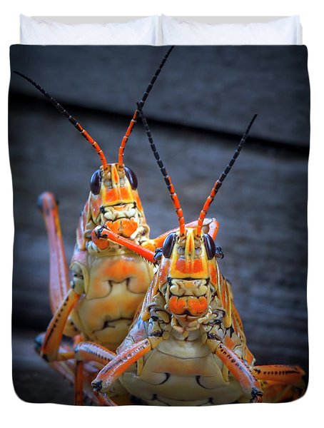 Grasshoppers In Love Duvet Cover