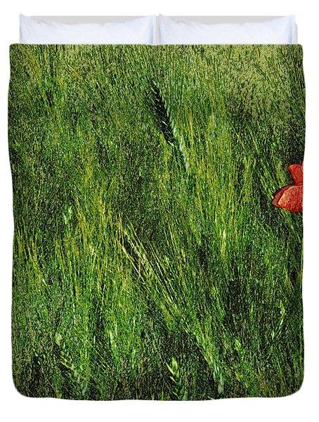 Grassland And Red Poppy Flower 2 Duvet Cover