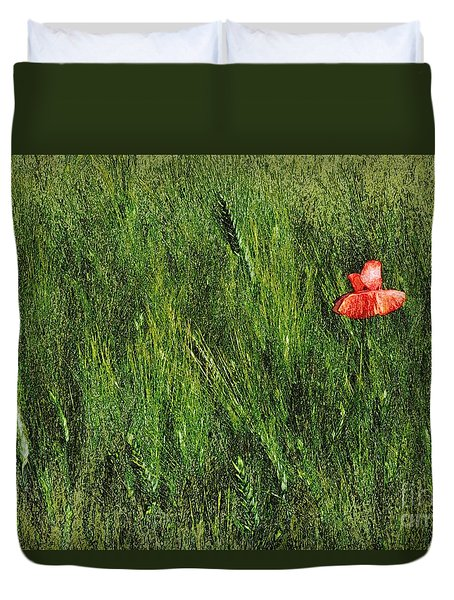 Grassland And Red Poppy Flower 2 Duvet Cover