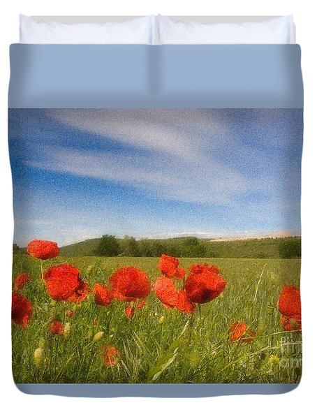 Duvet Cover featuring the photograph Grassland And Red Poppy Flowers by Jean Bernard Roussilhe
