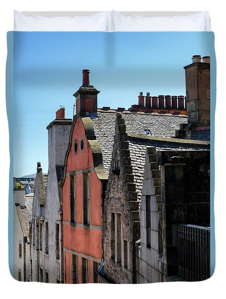 Duvet Cover featuring the photograph Grassmarket In Edinburgh, Scotland by Jeremy Lavender Photography