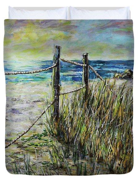Grassy Beach Post Morning 1 Duvet Cover