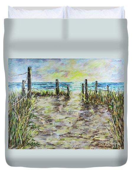Grassy Beach Post Morning 2 Duvet Cover