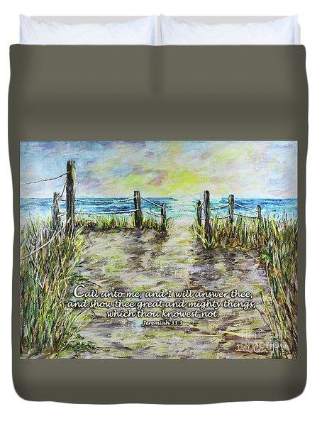 Grassy Beach Post Morning 2 Jeremiah 33 Duvet Cover