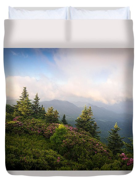 Grassy Ridge Rhododendron Bloom Duvet Cover by Serge Skiba