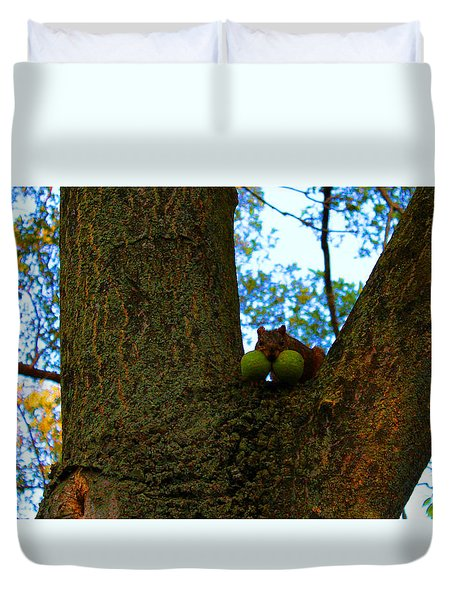 Duvet Cover featuring the photograph Grateful Tree Squirrel by Michael Rucker
