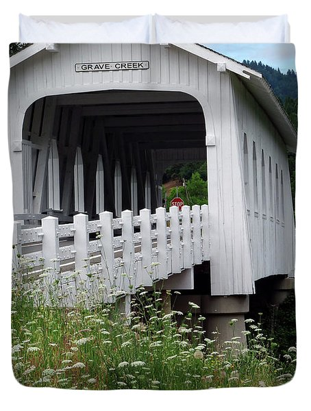 Grave Creek Bridge Duvet Cover by Methune Hively
