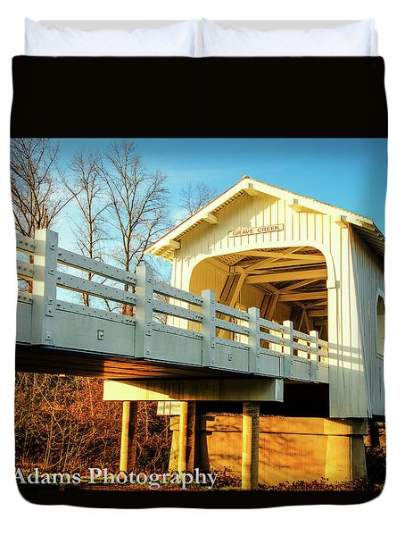 Duvet Cover featuring the photograph Grave Creek Covered Bridge by Jim Adams