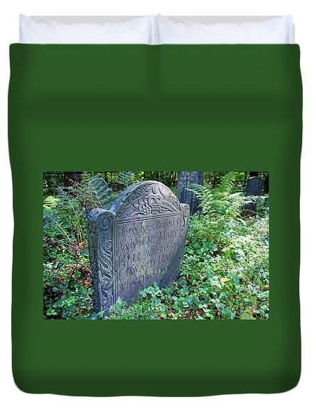 Duvet Cover featuring the photograph Grave Of Mary Hall by Wayne Marshall Chase