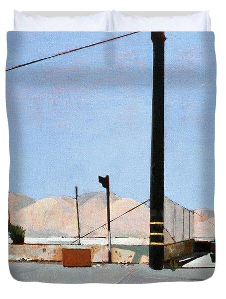 Gravel Piles Downtown La Duvet Cover by Peter Wilson