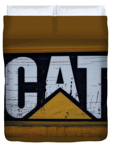 Gravel Pit Cat Signage Hydraulic Excavator Duvet Cover