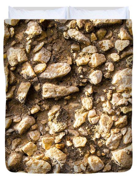 Gravel Stones On A Wall Duvet Cover