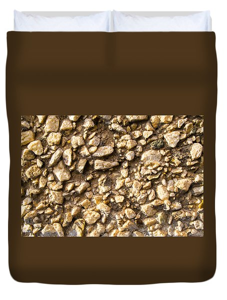 Duvet Cover featuring the photograph Gravel Stones On A Wall by John Williams