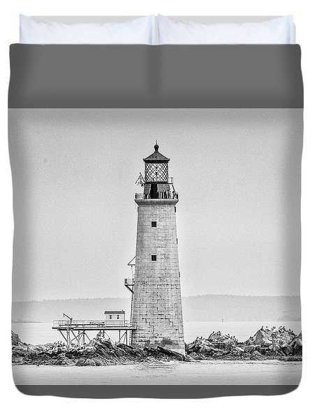 Graves Lighthouse- Boston, Ma - Black And White Duvet Cover
