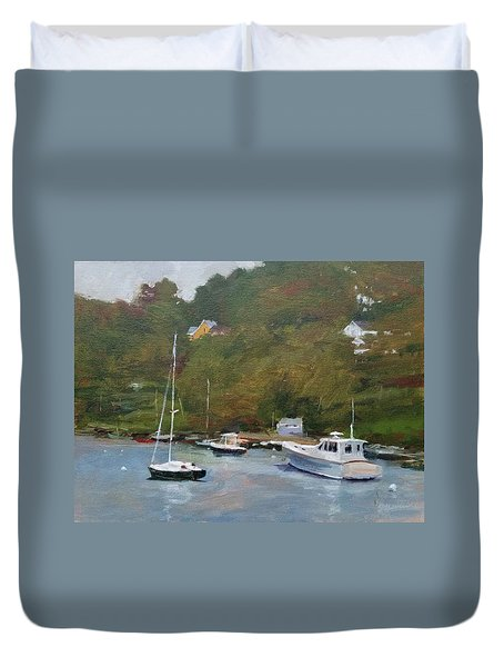 Gray Afternoon At Rockport Harbor Duvet Cover by Peter Salwen