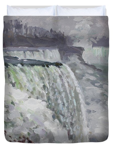 Gray And Cold At American Falls Duvet Cover