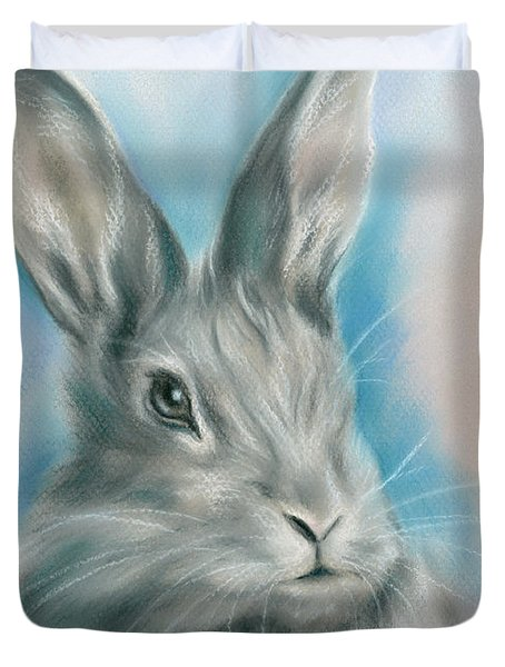 Gray Bunny Rabbit On Blue Duvet Cover