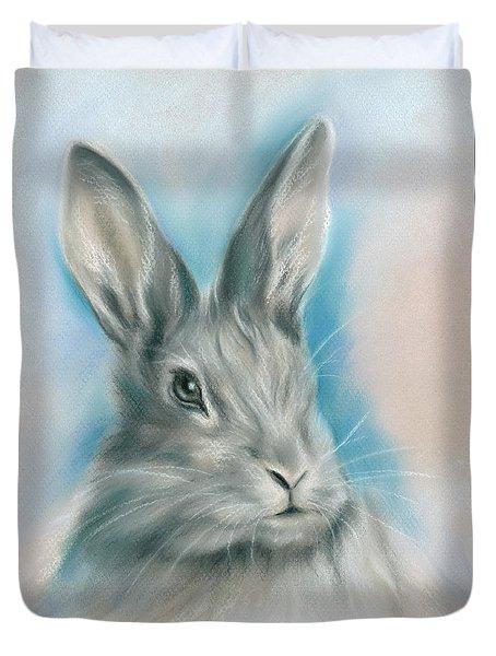 Gray Bunny Rabbit On Blue Duvet Cover