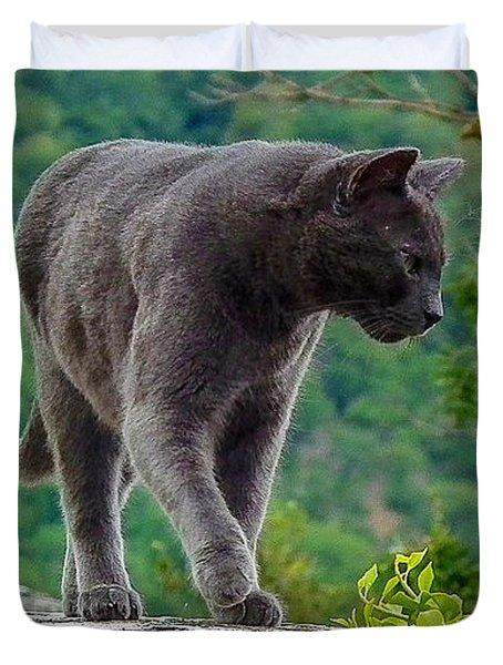 Gray Cat Stalking Duvet Cover