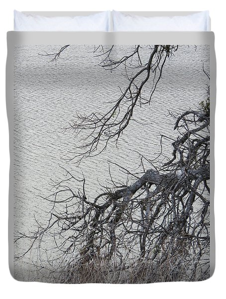 Gray Day At The Lake - Bare Branches Duvet Cover