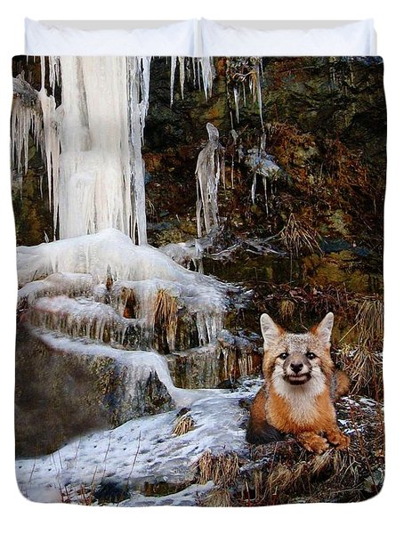 Gray Fox And Icescape Duvet Cover