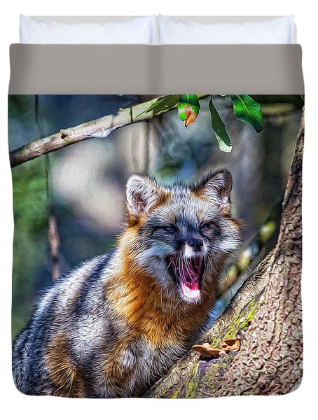 Gray Fox Awakens In The Tree Duvet Cover