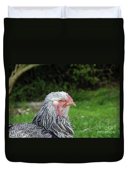 Duvet Cover featuring the photograph Gray Hen Profile by Kennerth and Birgitta Kullman