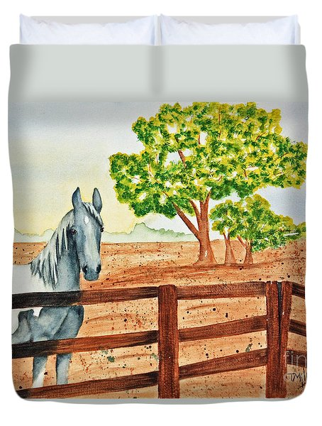 Duvet Cover featuring the painting Gray Mare by Terri Mills