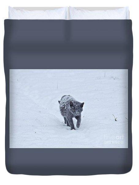 Gray On White Duvet Cover