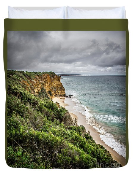 Duvet Cover featuring the photograph Gray Skies by Perry Webster