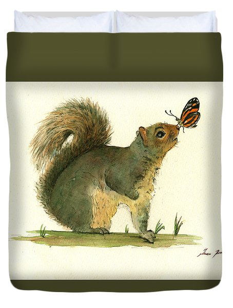 Gray Squirrel Butterfly Duvet Cover