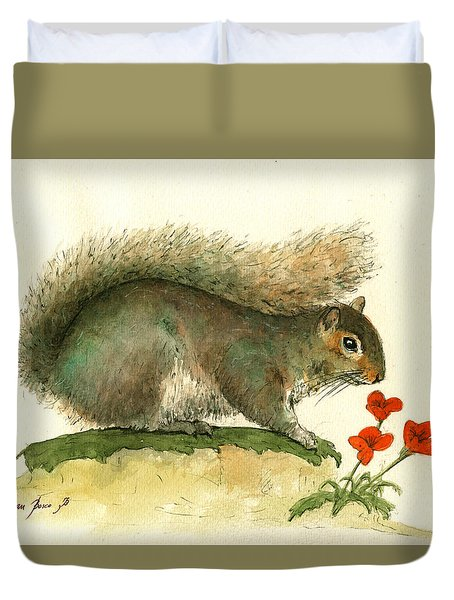 Gray Squirrel Flowers Duvet Cover