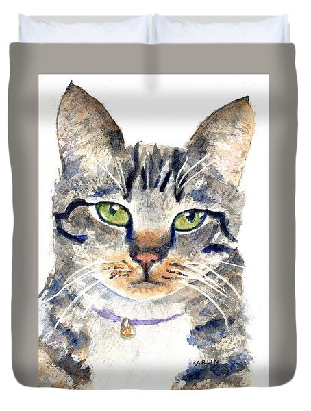 Gray Tabby Cat Watercolor Duvet Cover