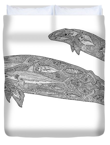 Gray Whale And Calf Duvet Cover by Carol Lynne