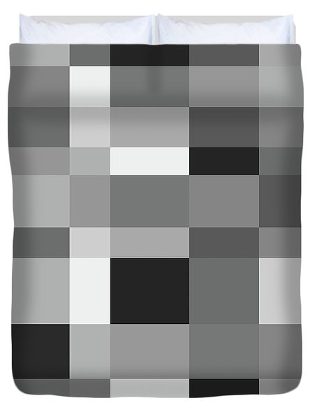 Duvet Cover featuring the digital art Grayscale Check by Bruce Stanfield