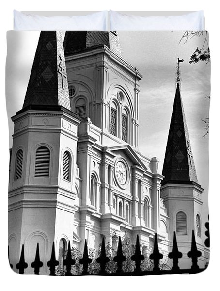 Grayscale St. Louis Cathedral Duvet Cover