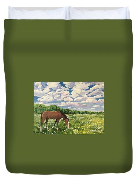 Grazing Among The Daisies Duvet Cover