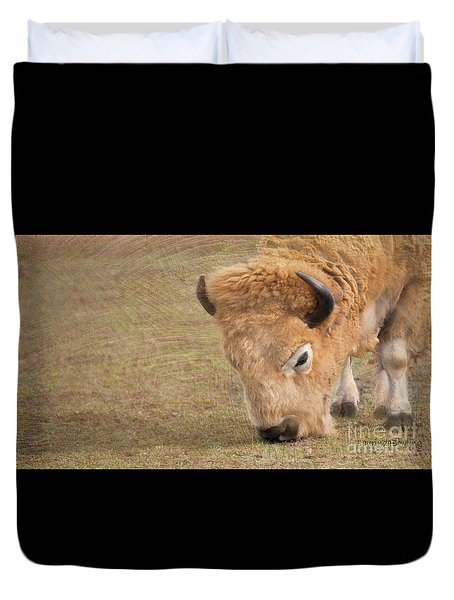 Duvet Cover featuring the photograph Grazing Buffalo by Laurinda Bowling