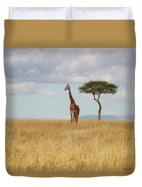 Grazing Giraffe Duvet Cover