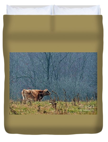 Duvet Cover featuring the photograph Grazing In Winter by Christian Mattison
