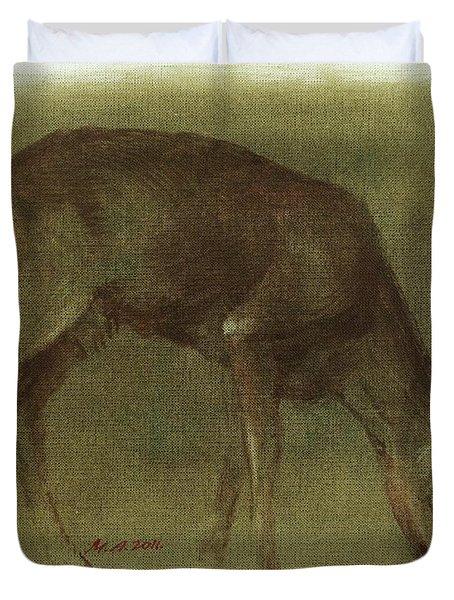 Grazing Roe Deer Oil Painting Duvet Cover