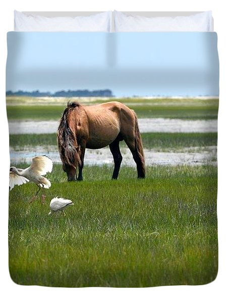 Grazing With The Ibis Duvet Cover